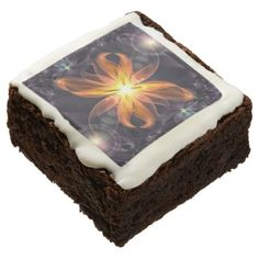 #Beautiful Orange Star Lily Fractal Flower at Night Chocolate Brownie - #Chocolates #Treats #chocolate