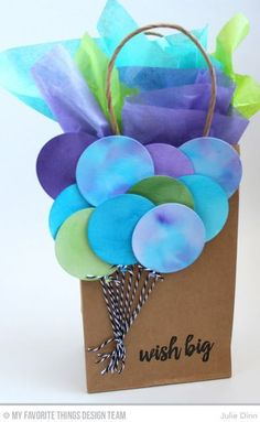 Birthday Balloon Bag. I love the way the colors extend from the paper balloons into the tissue paper.