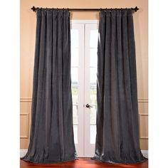 Natural Grey Velvet Blackout Curtain Panel | Overstock™ Shopping - Great Deals on EFF Curtains