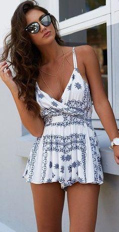#summer #seaside #outfits | Lovely White Print Romper