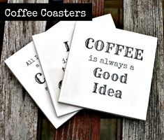 DIY Coffee Coasters made with the Silhouette Cameo and Clear Sticker Paper.
