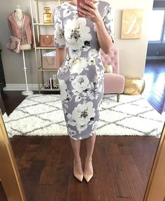 Gray Floral Print, Easter dress outfit idea, petite floral midi dress, petite fashion blog - click the photo for outfit details!