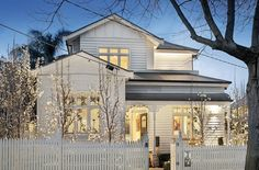 Weatherboard cottage with upper level extension. Bungalow Extensions, House Extensions, Edwardian House, Victorian Homes, House Front, My House, Facade Design, House Design, Weatherboard House