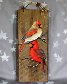 "Cardinal Mates, authentic barnwood, rustic, hand painted, 5 1/4"" x 12"""
