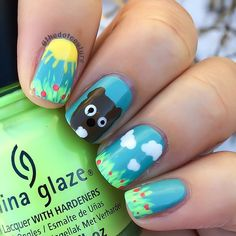 Groundhog nails!!!! @chinaglazeofficial For Audrey is the base and I also used Grass is Lime Greener, Liquid Leather and White on White, @opi_products A-Taupe The Space Needle, and @sally_hansen Peachy Breeze and Mellow Yellow.