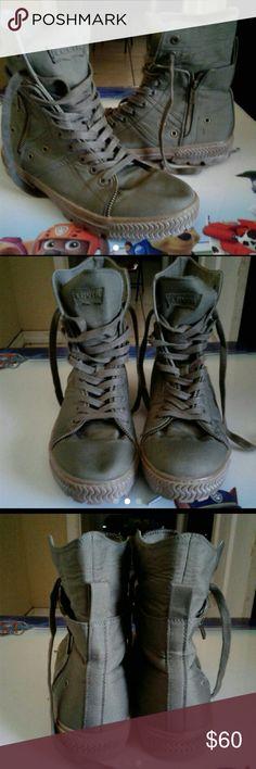 MEN Levi Hi-Top Boots Olive Green Men Levi Canvas Boots Levi's Shoes Boots