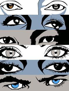 Eyes, Hand-cut paper on board, 15 x 20, 2016 © Richard Ackoon