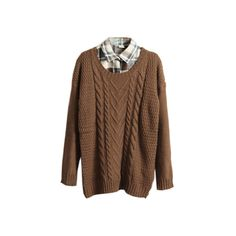 Retro Coffee Jumper [NCSWB0478] - $49.99 : (€45) ❤ liked on Polyvore featuring tops, sweaters, shirts, jumpers, retro shirts, brown top, brown shirts, retro sweaters and shirt top