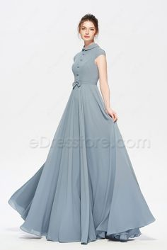 Modest dusty blue bridesmaid dress cap sleeves in 2019 Long Gown Dress, Cap Dress, Chiffon Dress, Chiffon Fabric, Long Gowns, Frock Fashion, Fashion Dresses, Dress Outfits, Dress Shoes