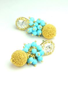 Statement Turquoise and Gold Bridal by LillyputLaneDesignCo