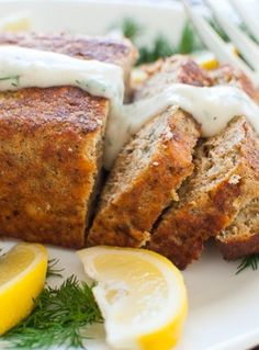 The perfect salmon loaf was made with Chicken of the Sea salmon and baked to a golden brown. The salmon loaf has perfect density and cuts well. Canned Salmon Recipes, Loaf Recipes, Fish Recipes, Seafood Recipes, Cooking Recipes, Healthy Recipes, Healthy Meals, Party Recipes, Yummy Recipes