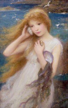 Extinct And Mythical Paintings - Sea Nymph by William Robert Symonds Illustrations, Illustration Art, Creation Art, Ondine, Beach Canvas, Pre Raphaelite, Merfolk, Art Plastique, A4 Poster
