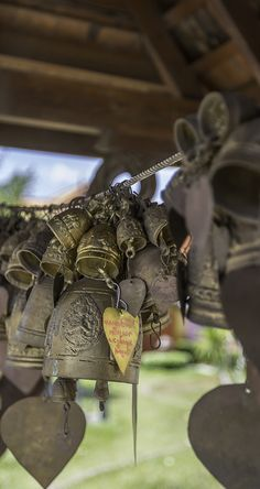 Make a wish at the Chalong Temple of Phuket Thailand. Buddhist bells cover the trees, each with a wish written on a little metal leaf. When the breeze rings the bell, your wish is made.