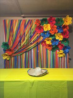 Charro themed party back drop  Fiesta party Flores de papel  Paper flowers