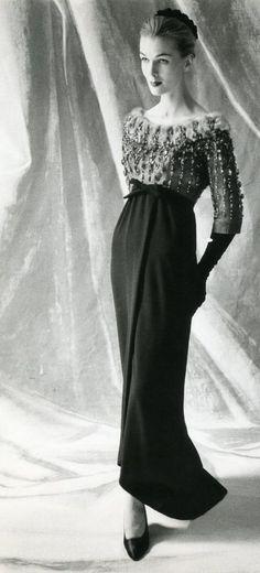 Balenciaga evening gown, 1952. Click to watch.