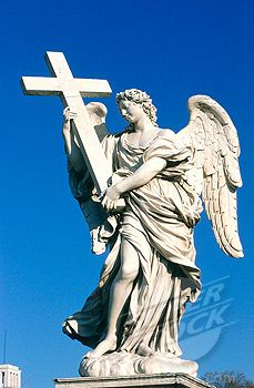Pray for a Holy man as our next Pope. Statue of angel by Bernini, at the Vatican in Rome