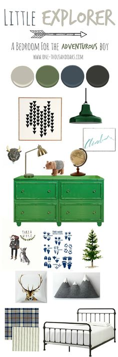 I love this inspiration board for a little explorer boys room from one-thousandoaks.com! It is a perfect combo of wilderness and explorer.