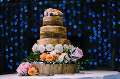 Gorgeous Cake from Katie and Phil's wedding reception at Micklefield Hall.   Photograph taken by Chris Barber
