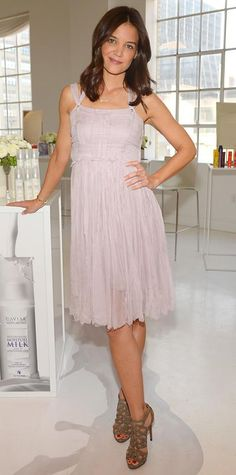 MAY 10, 2014  Katie Holmes struck a pretty pose at an Alterna product launch event in a pale lavender dress with Christian Louboutin heels.
