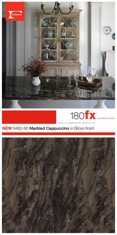 by Formica Group introduces Marbled Cappuccino in Gloss finish. Marbled Cappuccino is a beautiful color with shades of brown, cream, white and black. The unique swirling pattern is sure to create a point of attraction for any room. Renovations, Natural Granite, Kitchen Design, House Design, Remodel, Updated Kitchen, 180fx, Formica, Home Renovation