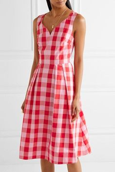 8540d7fc83 Draper James - Cutout gingham cotton-poplin dress