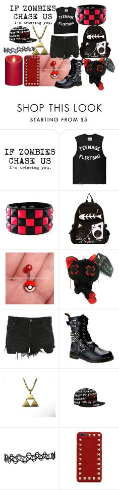"""""""If zombies chase us, i'm tripping you"""" by creepypasta-music-anime-love ❤ liked on Polyvore featuring Ksubi, Demonia, Valentino and Mirage"""