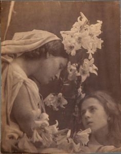 """""""My aspirations are to ennoble Photography and to secure for it the character and uses of High Art by combining the real and Ideal and sacrificing nothing of the Truth by all possible devotion to Poetry and beauty.""""Julia Margaret Cameron    """"The Communion"""" Mary Hillier and Elizabeth Keown, 1865-1866"""