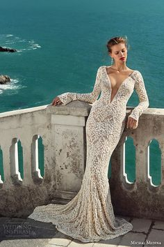 michal medina spring 2016 bridal long sleeves lace floral plunging deep v neckline sexy champagne color sheath wedding dress marilyn