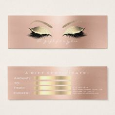 Gift Certificate Rose White PinkGold Lashes Makeup - rose style gifts diy customize special roses flowers