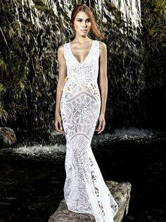 Almerinda Maria: Vestido de renda renascença Crochet Wedding Dresses, Wedding Dresses 2018, Formal Dresses, Bride Dresses, Party Dresses, Lace Dress, White Dress, Irish Lace, Point Lace