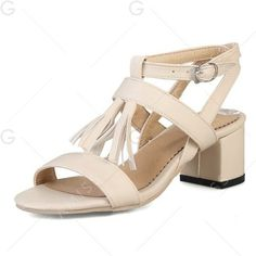 Beige 39 Tassel Chunky Heel Sandals (130 DKK) ❤ liked on Polyvore featuring shoes, sandals, wide heel sandals, beige shoes, thick heel sandals, beige sandals and wide heel shoes