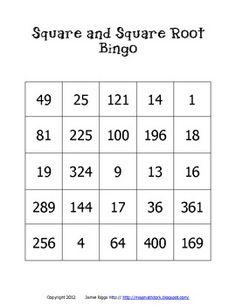 Perfect Square Bingo - MissMathDork - TeachersPayTeachers.com
