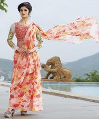 Peach Color Georgette Unstitched Designer Gown For Wedding : Pritisha Collection YF-32155