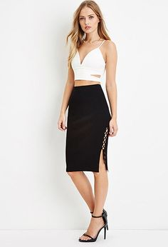 Lace-Up Side Bodycon Skirt | Forever 21 - 2000164828
