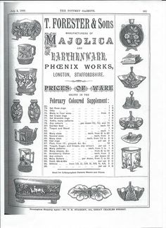 Wouldn't you like to buy some of these pieces at 1883 prices published in the Pottery Gazette with the coloured poster nearby. Stoke On Trent, Pottery Making, Pottery Art, It Works, Memories, Phoenix, Stuff To Buy, Poster, Souvenirs