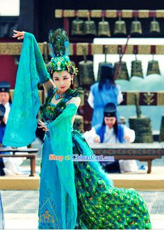 Ancient Chinese Peacock Dance Costumes and Headdress Complete Set