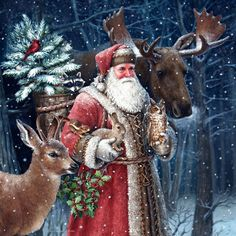 Father Christmas in red with animals - Elizabeth Goodrick-Dillon Christmas Scenes, Christmas Art, Christmas Holidays, Retro Christmas, Christmas Gifts, Illustration Noel, Christmas Illustration, Vintage Christmas Images, Victorian Christmas