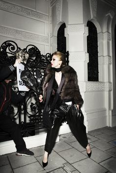 Raquel Zimmermann in Reality Show for Vogue Paris, August 2008 Shot by Mario Testino Styled by Carine Roitfeld Fair Trade Clothing, Fair Trade Fashion, Belstaff Leather Jacket, Leather Pants, Fur Jacket, Fur Coat, Mario Testino, Raquel Zimmermann, Carine Roitfeld