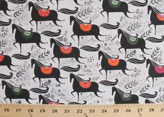 Wildfield Scandinavian Horses Gallop Cotton Fabric Print by The Yard D505 12 | eBay