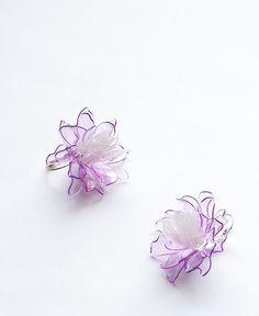Plastic is fantastic / Organic purple náušnice