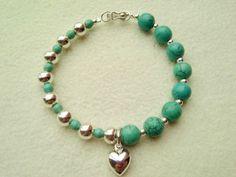 pulsera de moda para mujeres, piedras preciosas, corazón de plata