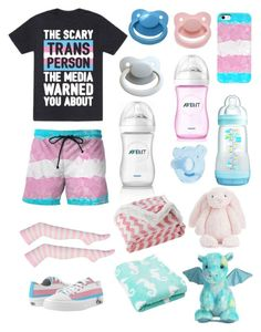 """Transgender Pride (cgl, cglre)"" by transboyfanboy ❤ liked on Polyvore featuring Lala + Bash, Jellycat and Aurora World"