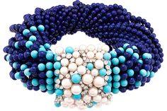 MEDITERRANEAN SEA: Rouleau Azur bracelet with lapis lazuli, turquoise, pearls and diamonds Photo: VAN CLEEF & ARPELS