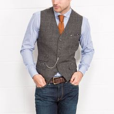 BROADSTONE BROS Grey Herringbone Heritage Check Waistcoat   Slaters
