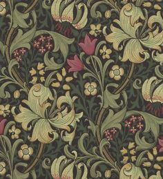 Buy Golden Lily, a feature wallpaper from Morris and Co, featured in the Morris Archive Wallpapers collection from Fashion Wallpaper. Dark Green Wallpaper, Lily Wallpaper, Feature Wallpaper, Home Wallpaper, William Morris Wallpaper, Morris Wallpapers, Wall Color Combination, Window Wall Decor, Victorian Wallpaper