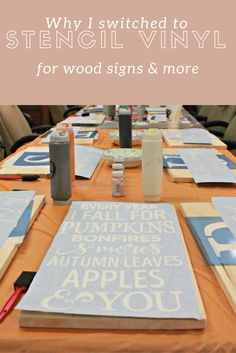 Why I decided to switch from indoor/outdoor vinyl to Oramask 813 stencil vinyl and how it's changed my business. Stencils For Wood Signs, How To Make Stencils, Vinyl Signs, Diy Vinyl Projects, Vinyl Crafts, Wood Crafts, Chalk Crafts, Circuit Projects, Craft Projects