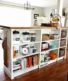 Bookshelves | If your cooking area didn't come equipped with enough surface space, go the DIY route. There's a project for everyone—whether you're crafty or not so much.