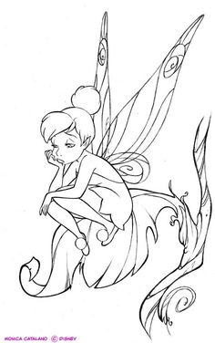 Disney Fairies Graphic Novel - Lineart by Monica Catalano–Please, don't remove credit– Tinkerbell Coloring Pages, Disney Princess Coloring Pages, Fairy Coloring Pages, Printable Adult Coloring Pages, Mandala Coloring Pages, Coloring Books, Kids Coloring, Fairy Drawings, Disney Drawings
