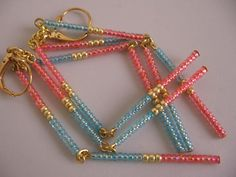 Seed Bead Dangle Earrings Coral/Blue by pattimacs on Etsy