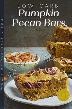 Pumpkin spice season is officially here! I'm celebrating by making a batch of these keto-friendly pumpkin bars. ❤😋🎃 #lowcarb #keto #glutenfree #grainfree #Atkins #diabetic #Bantingdiets #lowcarbpumpkinbars #pumpkinbars #pecanbars #lowcarbdessert High Protein Low Carb, High Protein Recipes, Protein Foods, Fall Desserts, Low Carb Desserts, Dessert Recipes, Pumpkin Bars, Pumpkin Spice, Pecan Bars